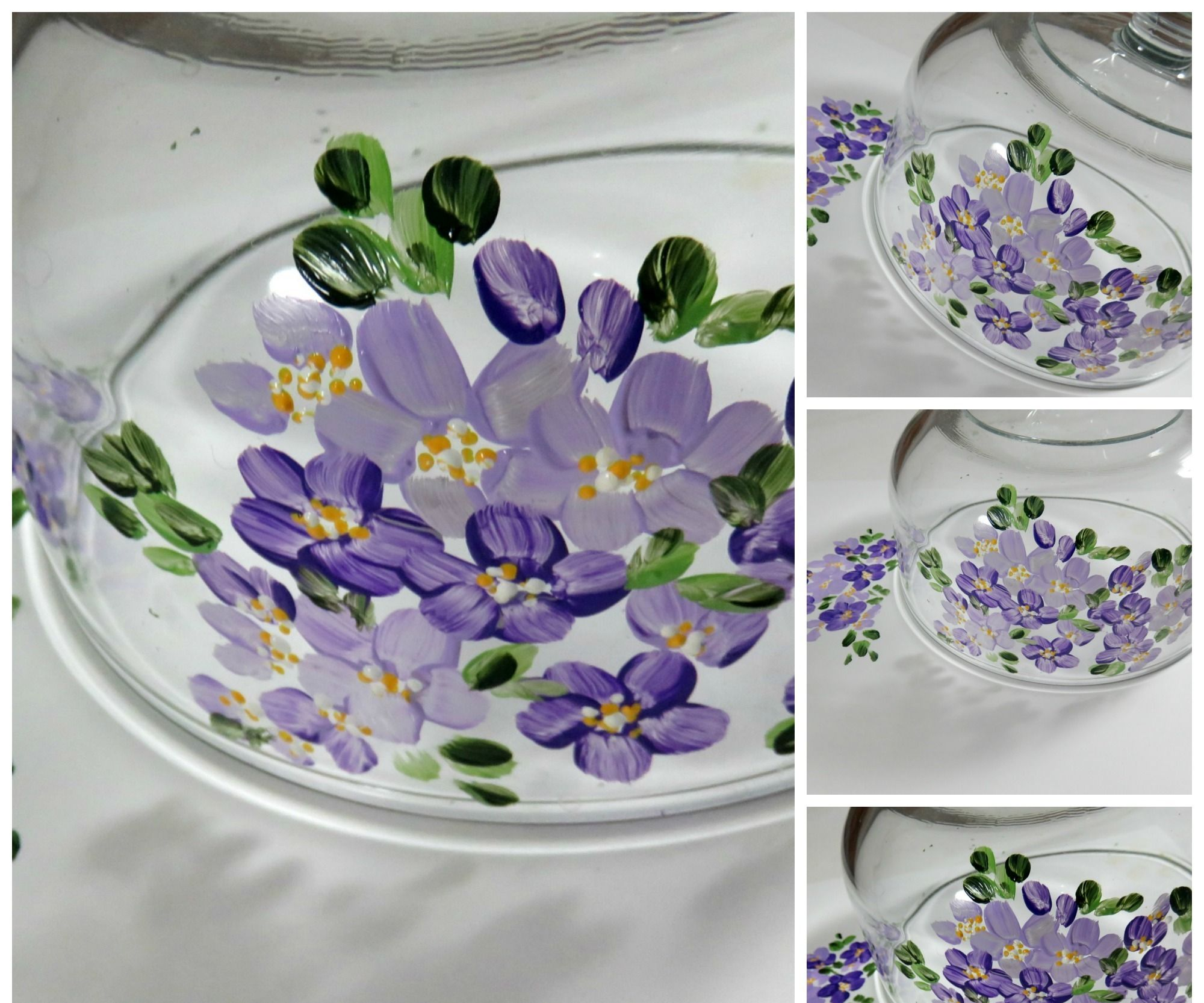 HOW TO PAINT EASY PURPLE FLOWERS ON GLASS