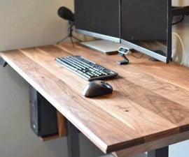 Walnut Standing Desk | Hidden Inductive Charger