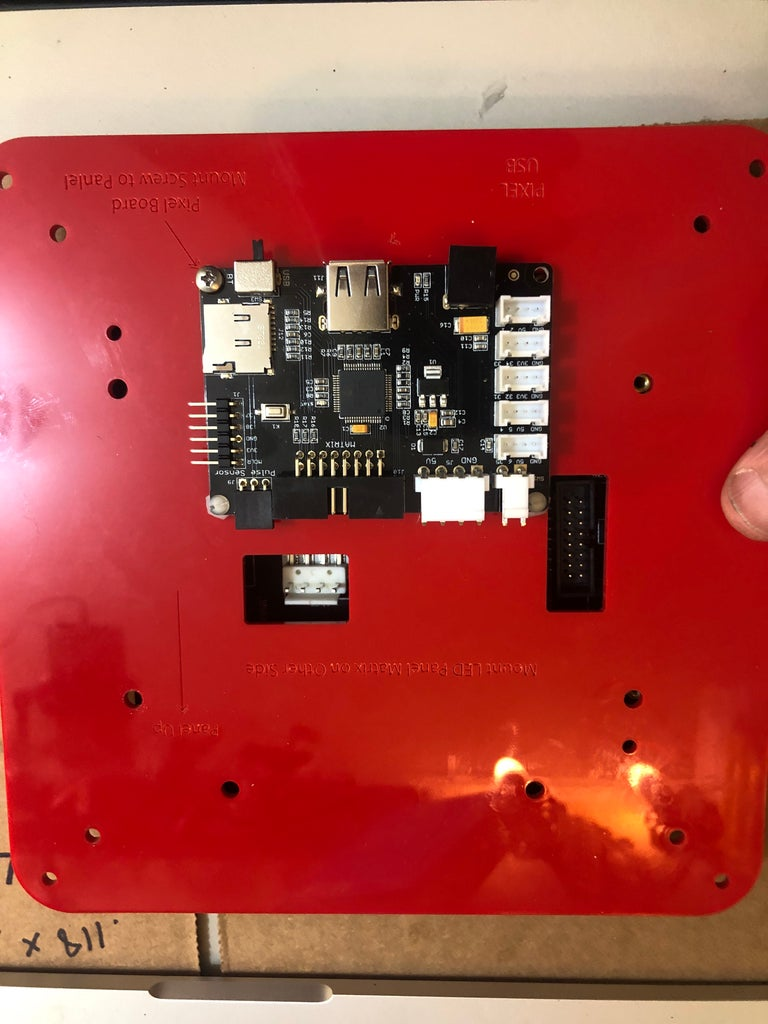 Mounting the PIXEL Board and LED Matrix Panel