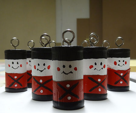 Paint dipped drummer boy decorations