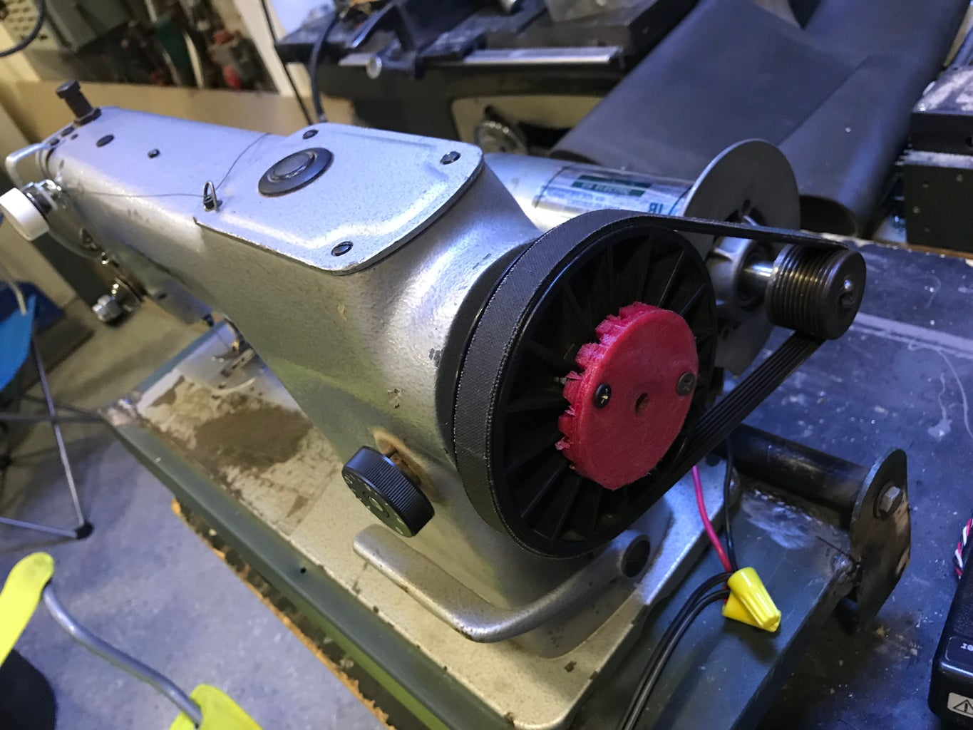 Industrial Sewing Machine Powered by Treadmill Motor
