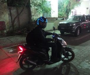 EL Wire Motorcycle Tron Helmet