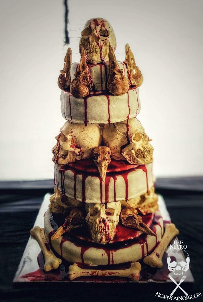 """""""The Bone Collector"""" Stacked Skull Cake"""