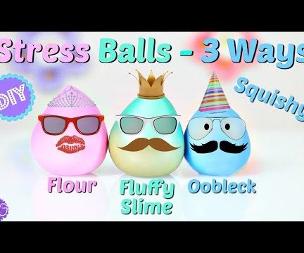 SQUISHY STRESS BALLS 3 WAYS - FLUFFY SLIME, OOBLECK & FLOUR!