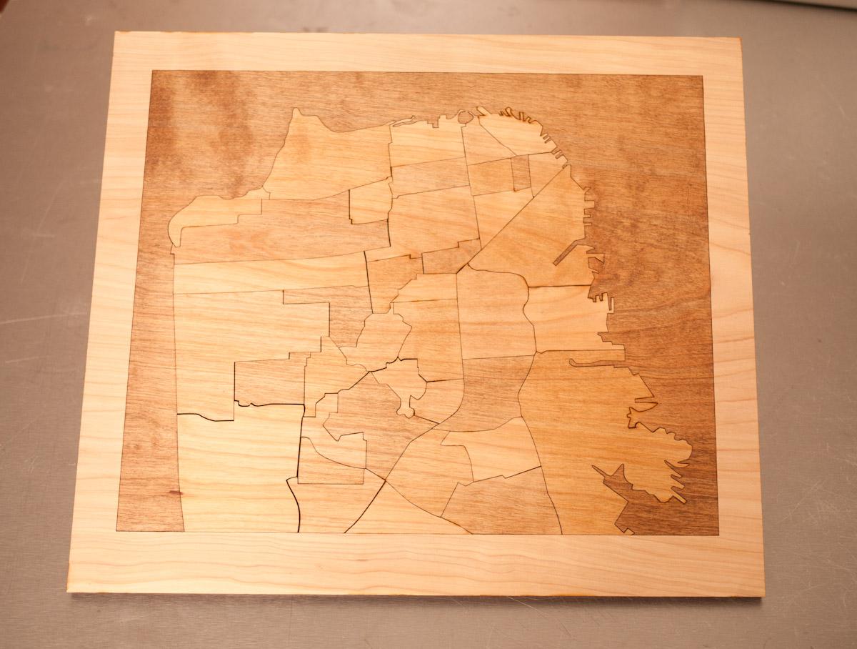 Wooden Neighborhood Map