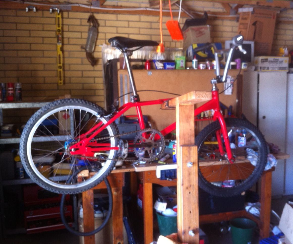 Home made timber Push Bike Bicycle Repair Stand