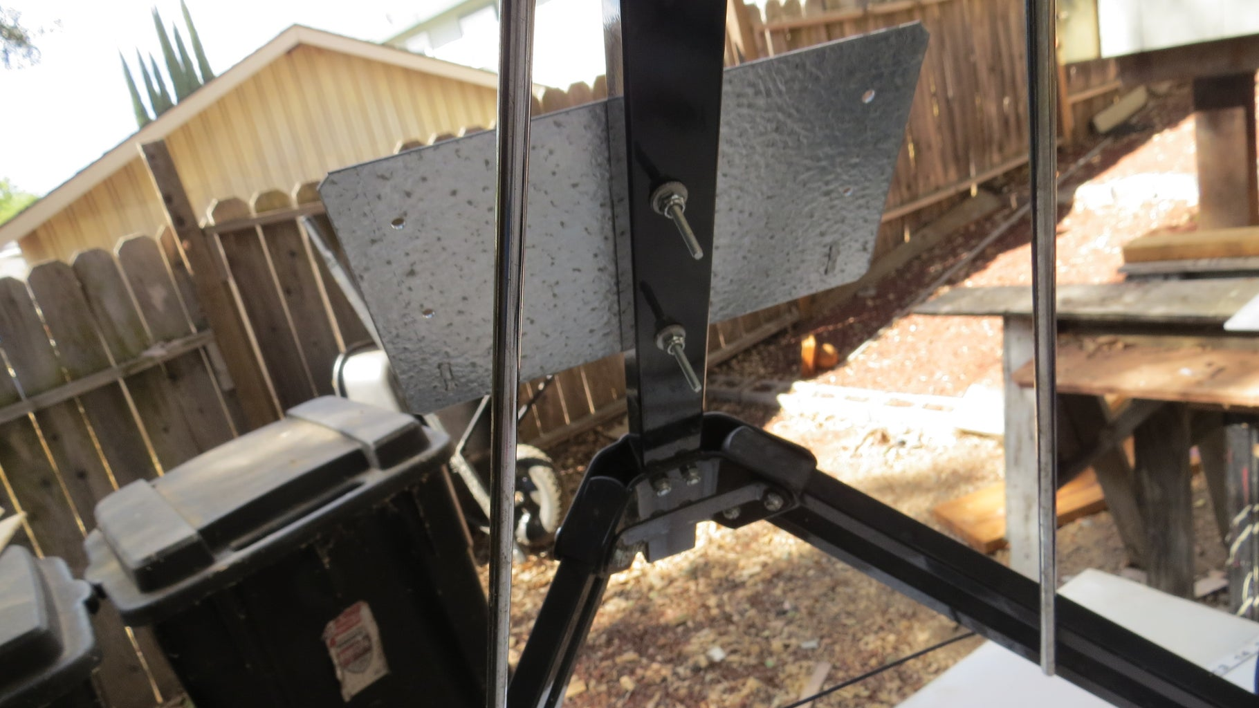 Plywood and Metal Brackets