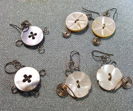 EARRINGS OR PENDANT FROM VINTAGE BUTTONS