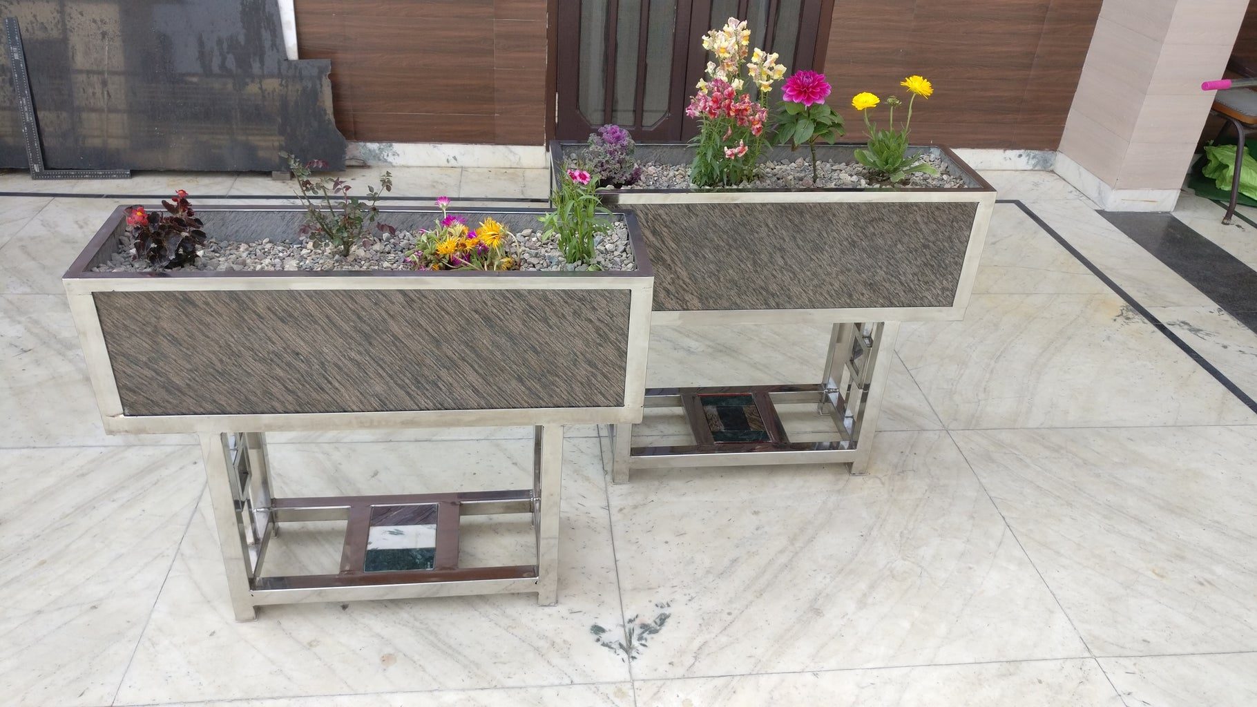 Marble and Stainless Steel Planters