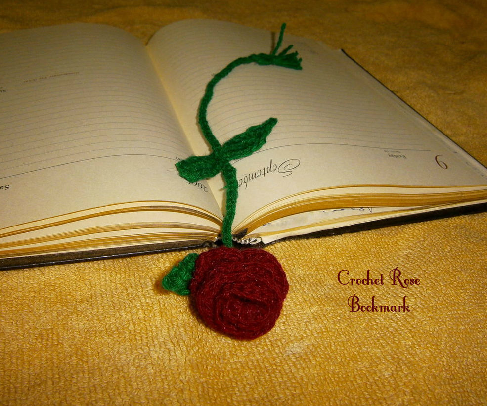 Crochet Rose bookmark