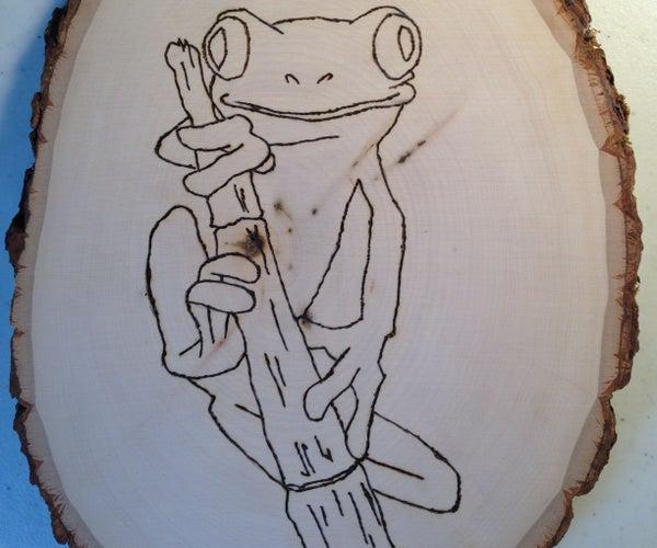 Wood-burning of Tree Frog on Natural Edged Wood