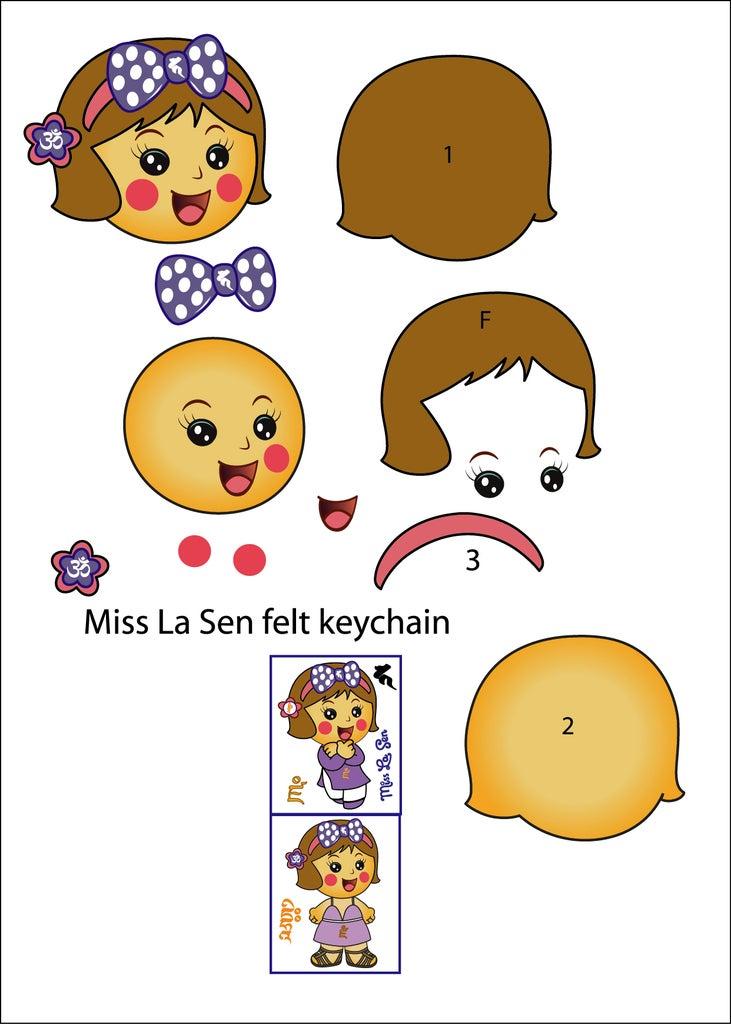 Download This Pattern for Miss La Sen Felt Keychain.