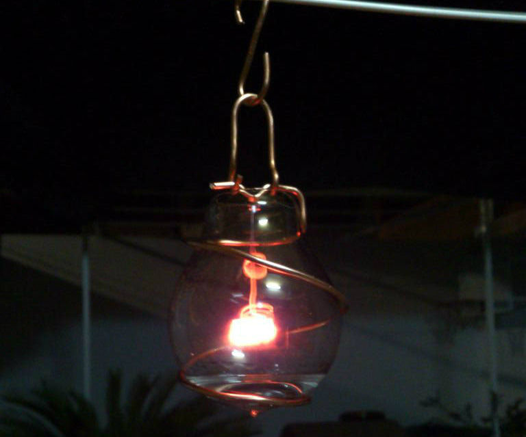 Beautiful acetone lamp from reused materials.