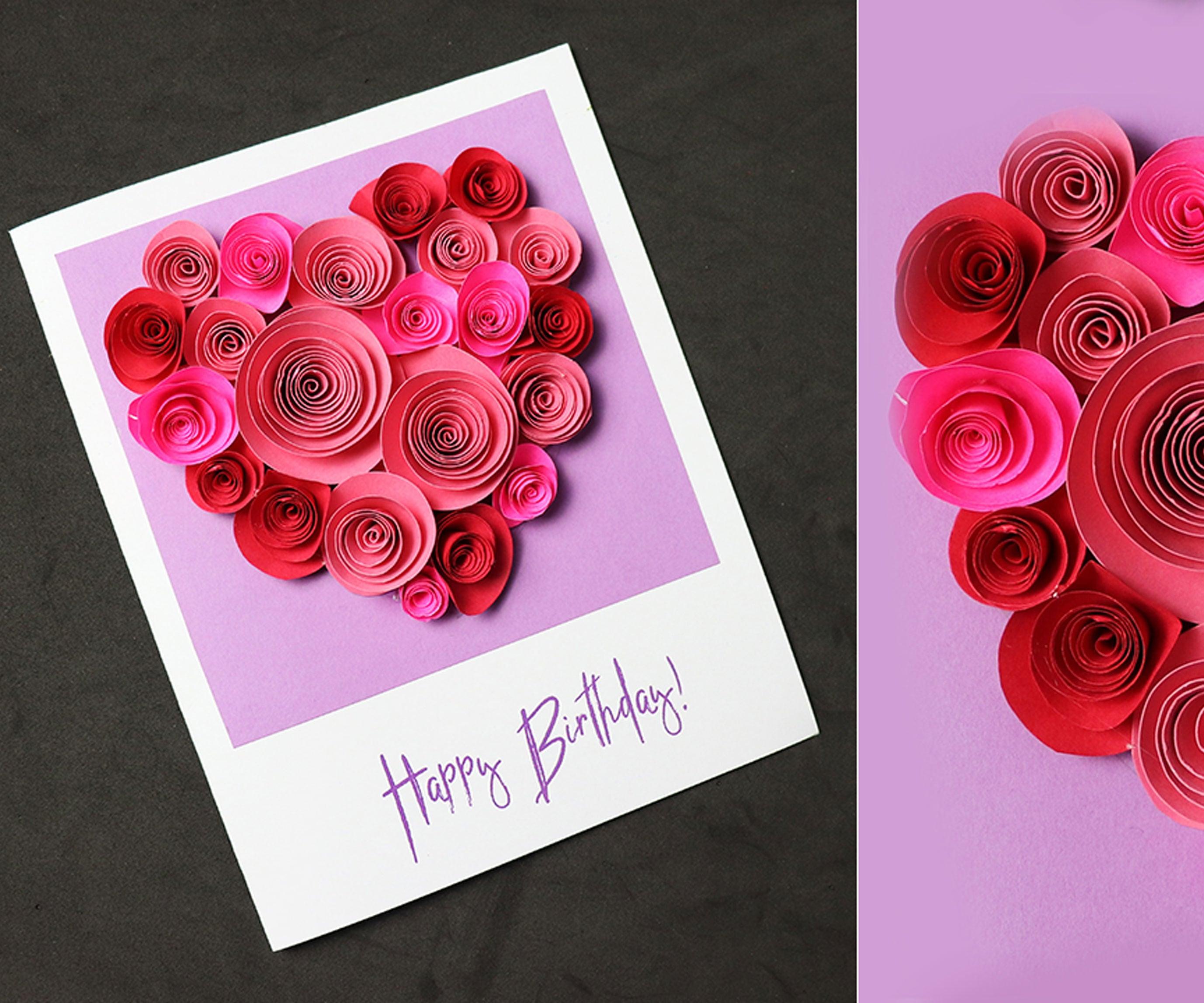 Beautiful Birthday Greeting Card Idea  Pop Up Rose Heart  DIY