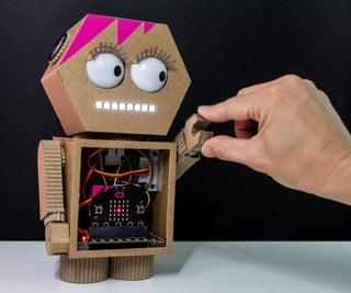 """High-Fivey"" the Cardboard Micro:bit Robot"