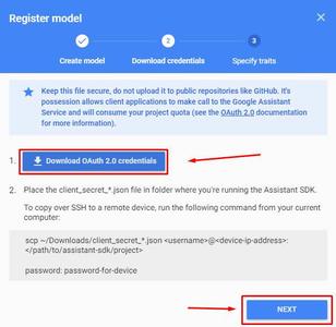 Actions on Google - Client Secret JSON: