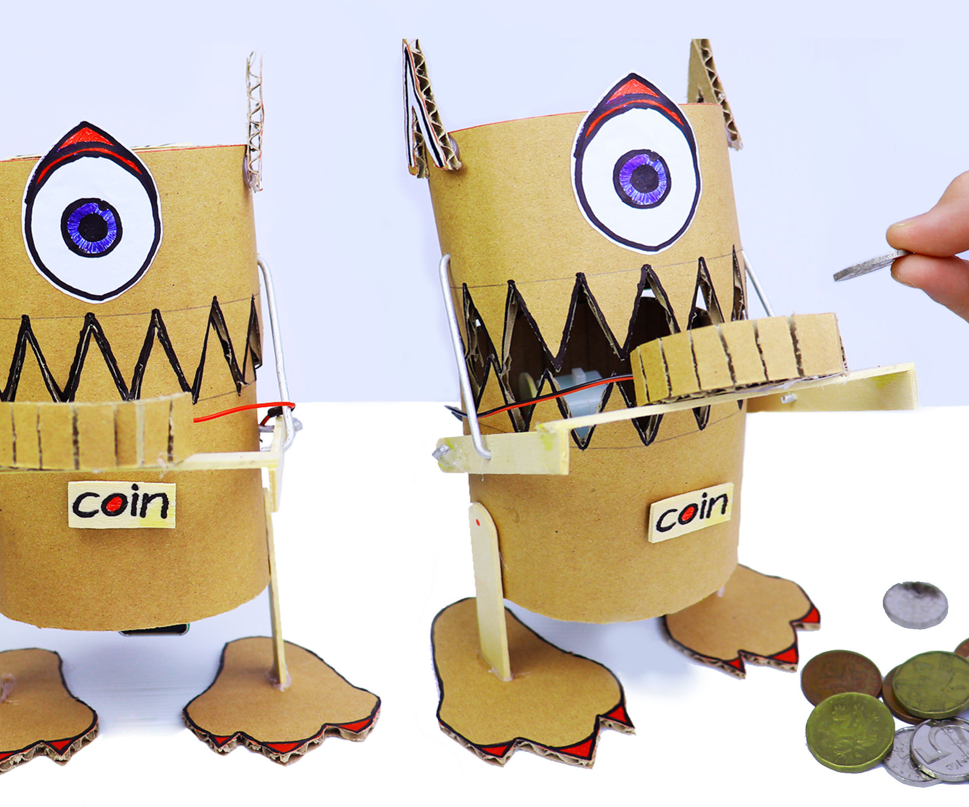 How to Make a Robot(Monster) That Eats Coins From Cardboard
