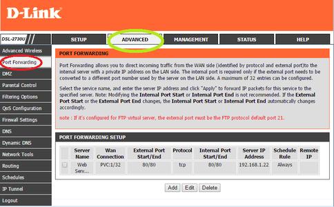 Select the Port Forwarding Option