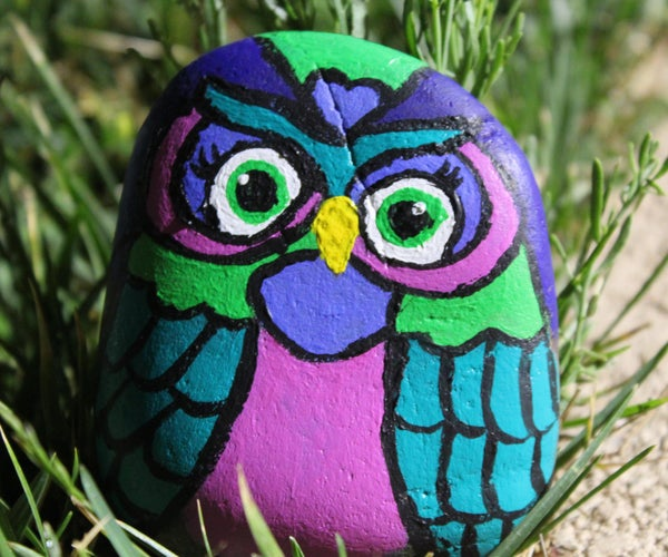Owl Painted Garden Rocks