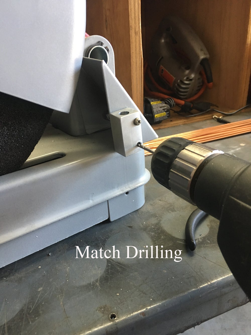 Match Drilling the Screw Holes in the Saw Body