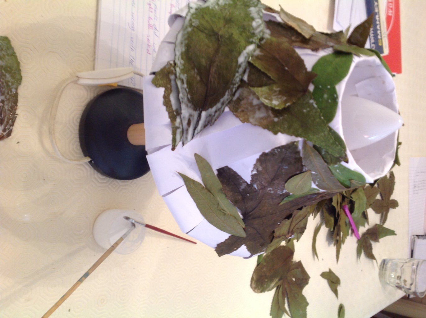Glue the Leaves on the Paper Shade