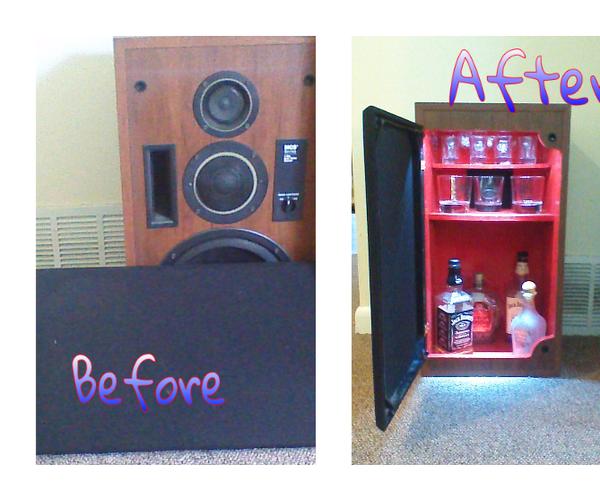 His Unused Speaker Into My Mini Liquor Cabinet