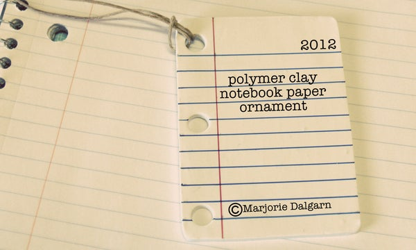 Polymer Clay Notebook Paper Ornament