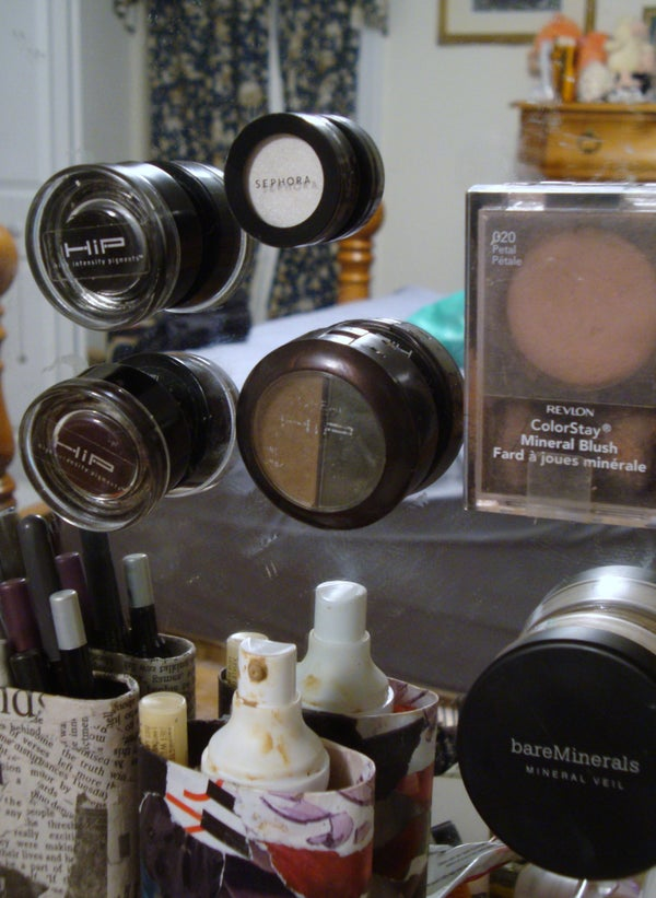 Way to Organize/Store Makeup (or Almost Anything) on Your Mirror