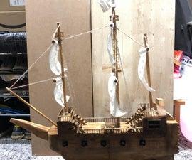 Wooden Sail Boat.
