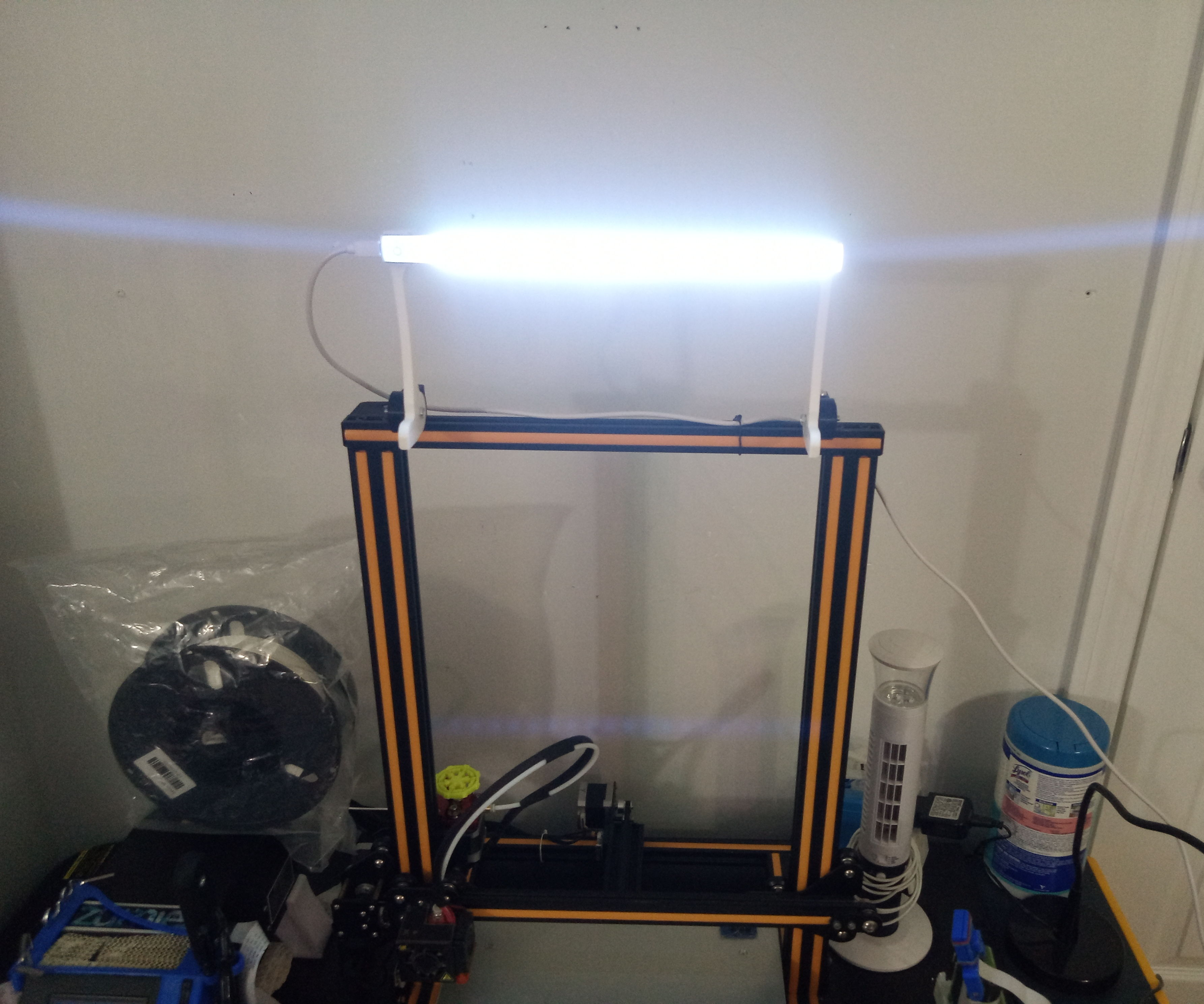 Drop-Gate LED Lighting Fixture for Creality CR-10 & Ender 3 3D Printers