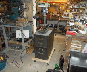 Rolling Stand for Drill Press Using Filing Cabinet