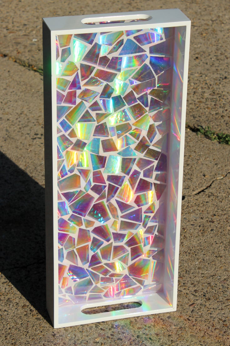 Recycled DVD's Mosaic Resin Tray