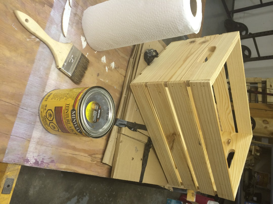 Staining the Crates & Adding Extras