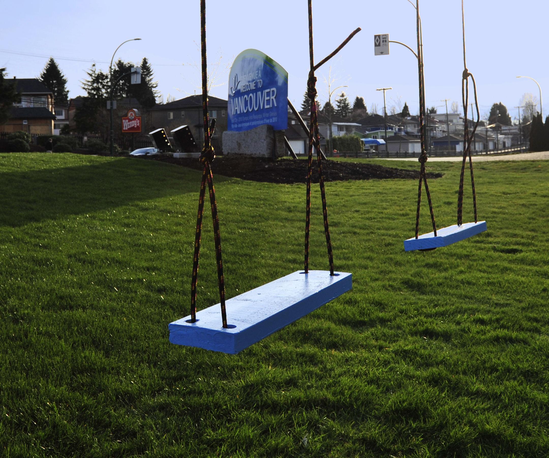 A Swing Set from a Billboard (Using Scrap Lumber)