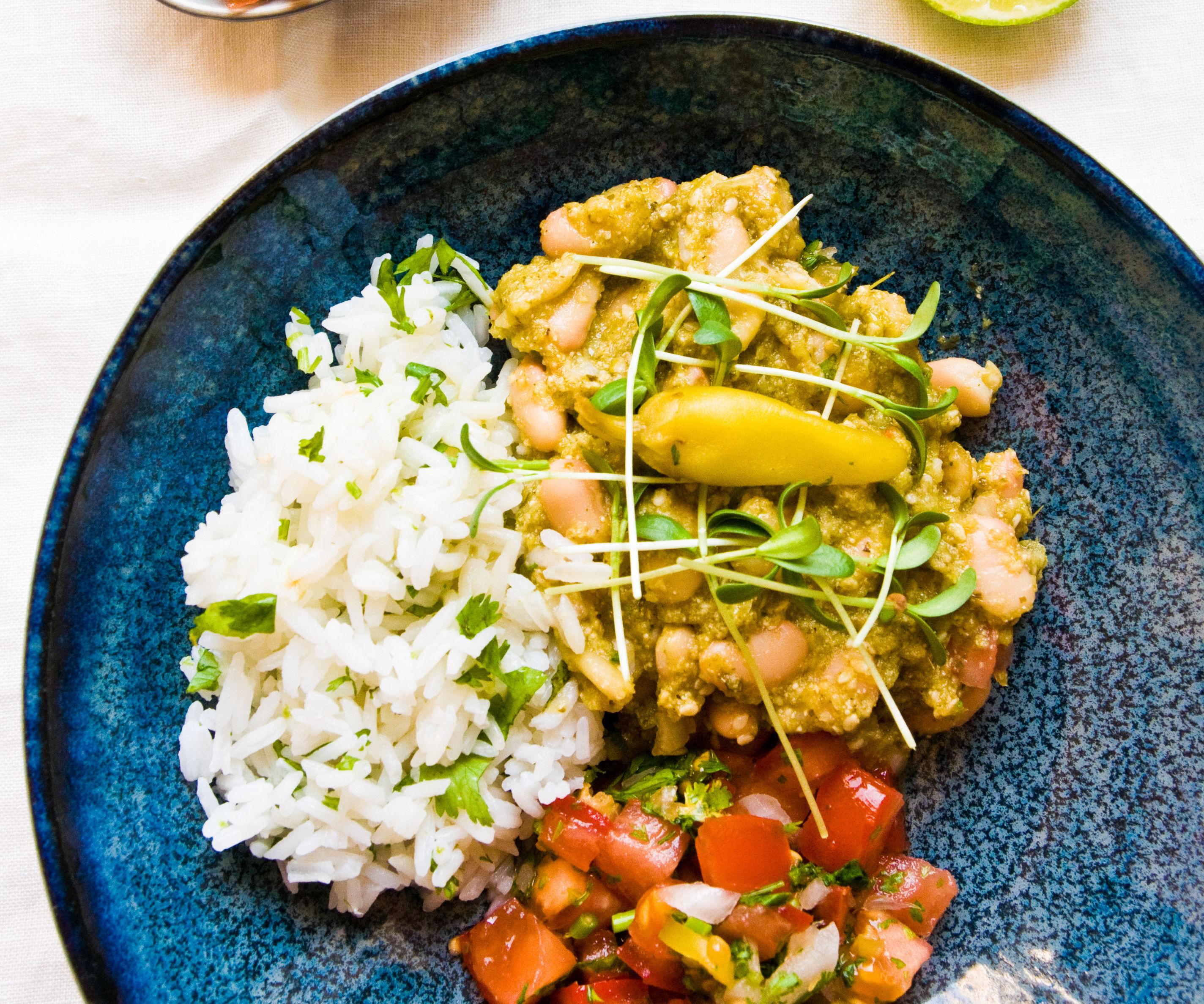 Mexican green mole with beans & pico de gallo