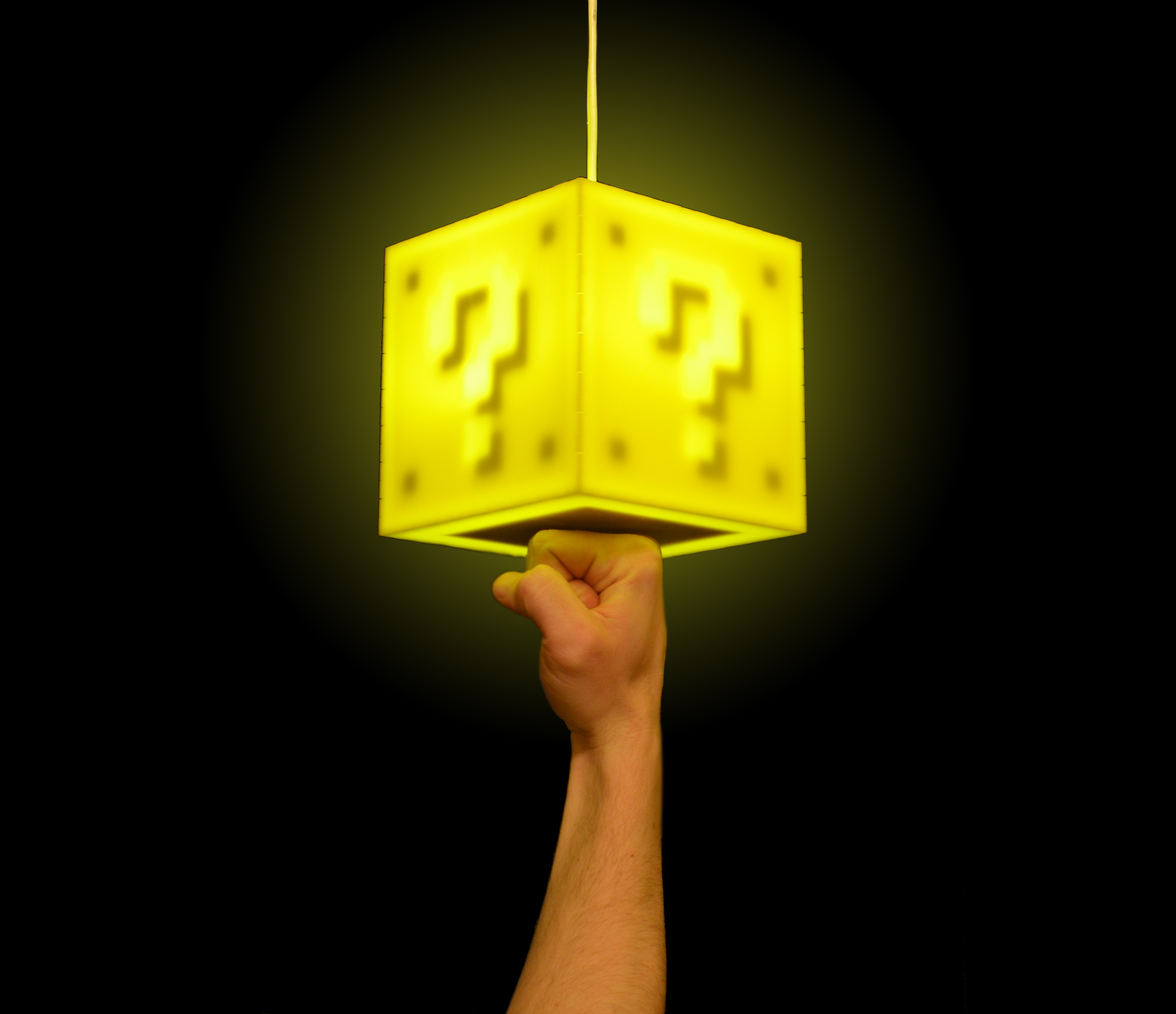 Hanging the Question Block Lamp (with included hanging kit)