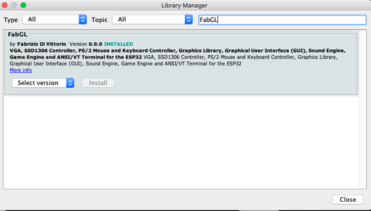 Adding the FabGL Library to the IDE