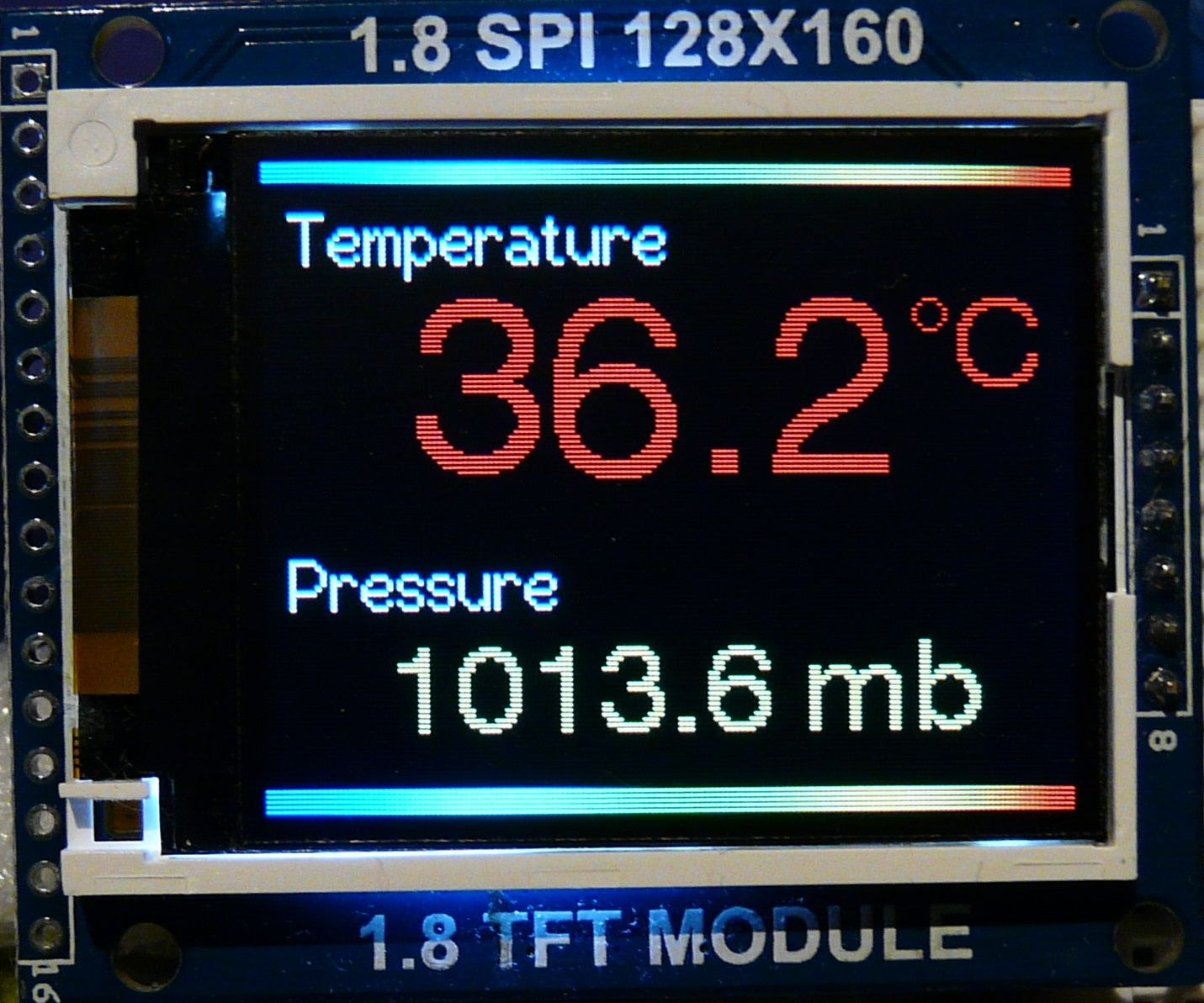 """Arduino BMP180 temperature and pressure sensor readings on a 1.8"""" colour TFT display"""