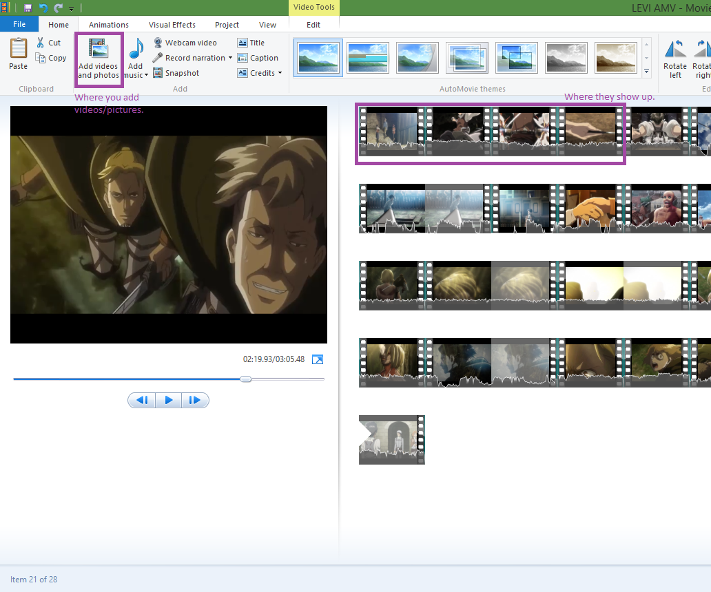 Editing Video in Windows Movie Maker