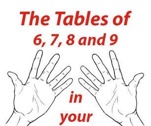 Tablas de multiplicación de 6, 7, 8 y 9 en las manos