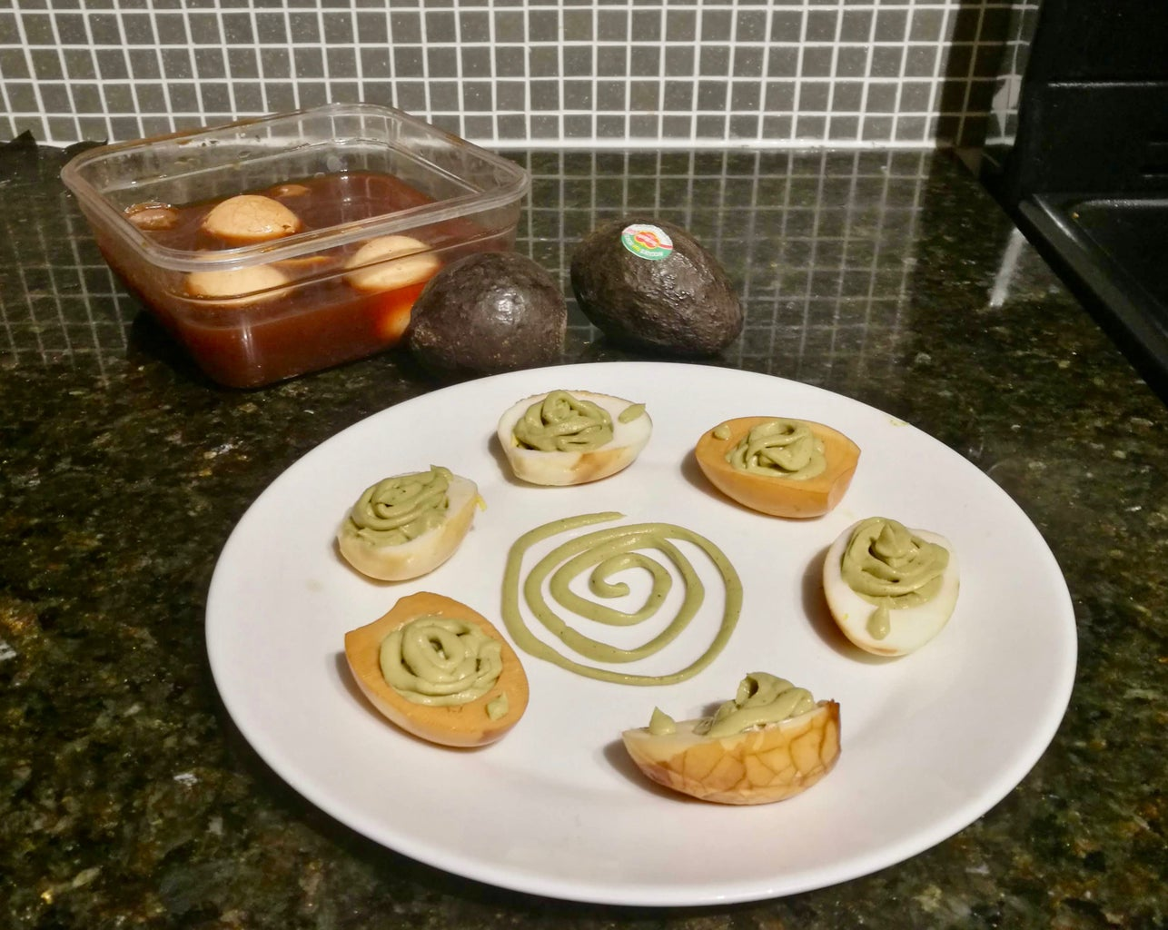 Halloween-Inspired Green Eggs With Spiderwebs (No Food Colouring)