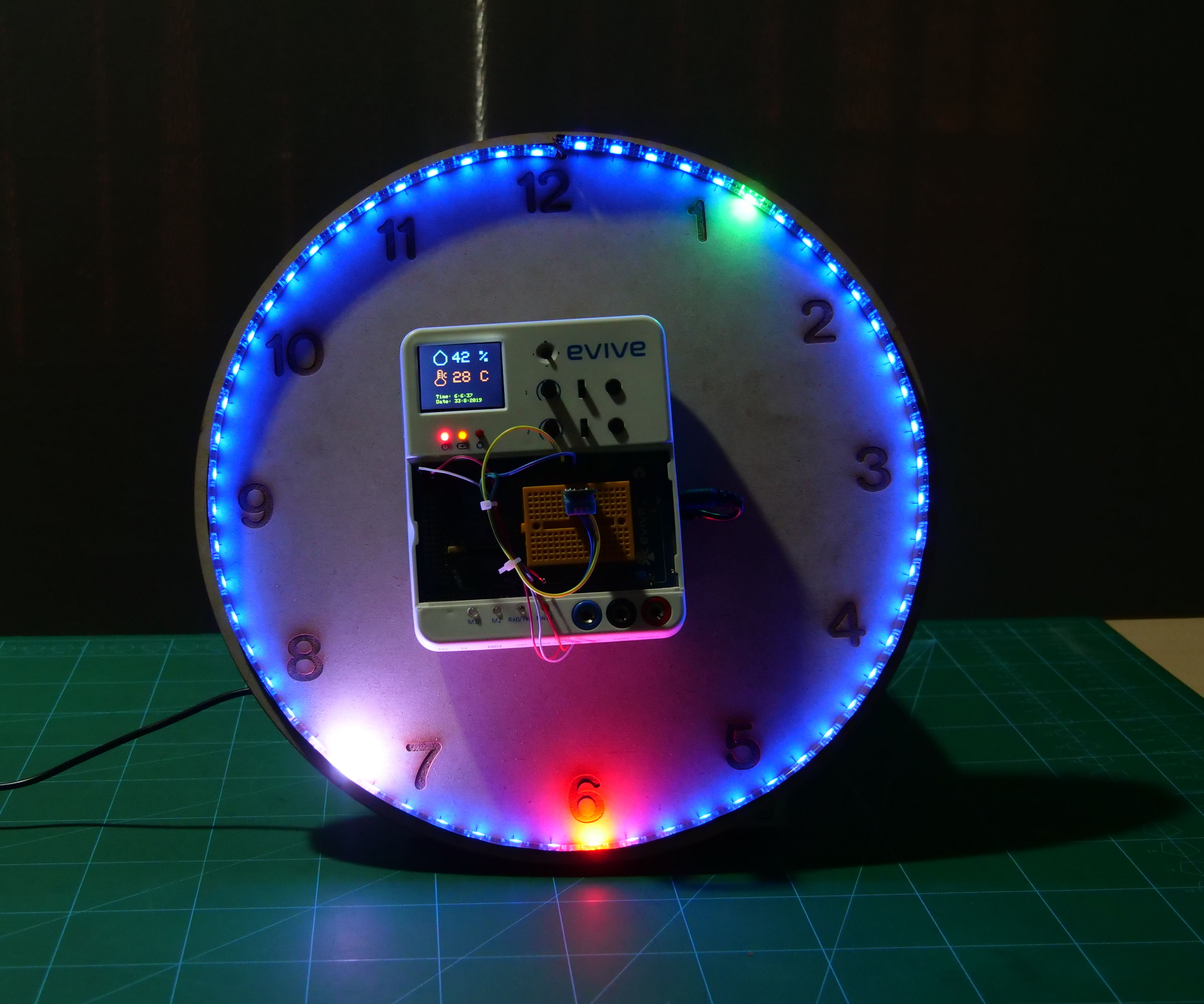 RGB LED Wall Clock With Temperature Sensor Using Evive- Arduino Based Embedded Platform