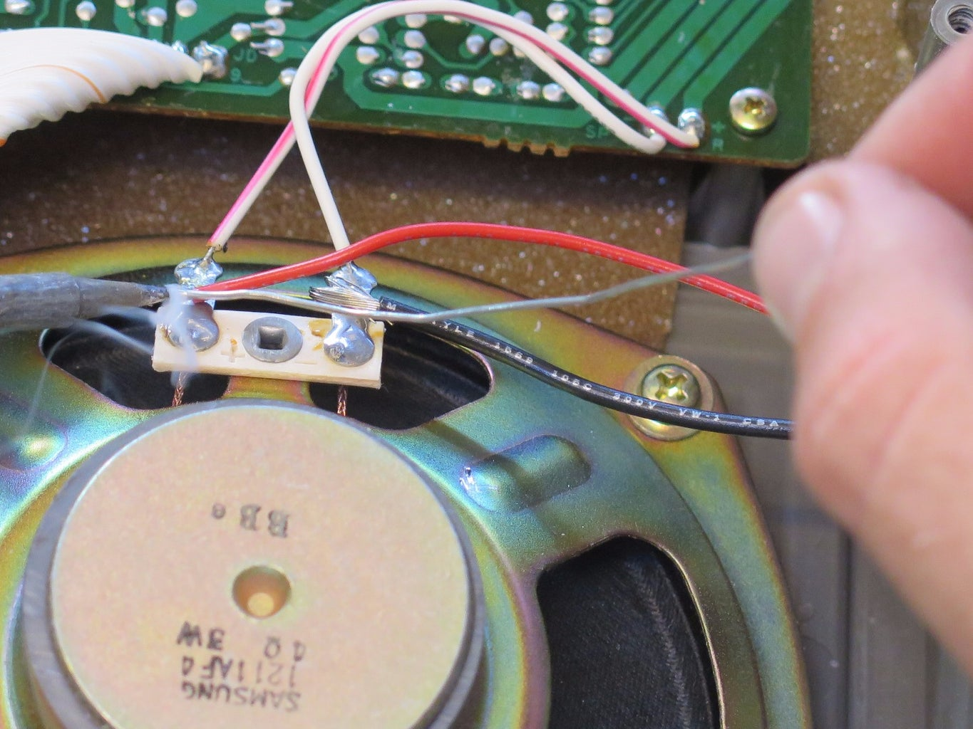 Attach Two Wires to Speaker