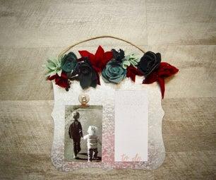 Rustic Felt Flower Tin Plaque