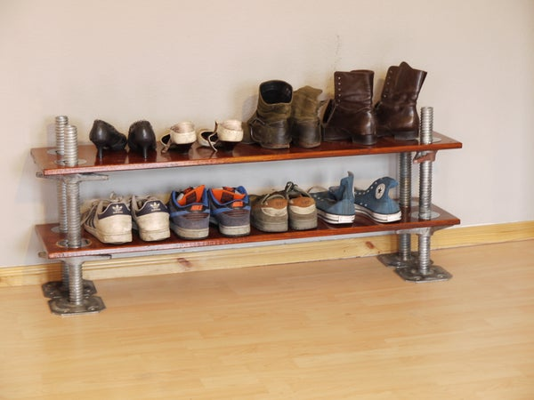 Happy Wife-Happy Life! Easy to Do Hight Adjustable Shoe Shelf, Made From Scaffolding Parts, With Polished Stainless Steel Rings on Top