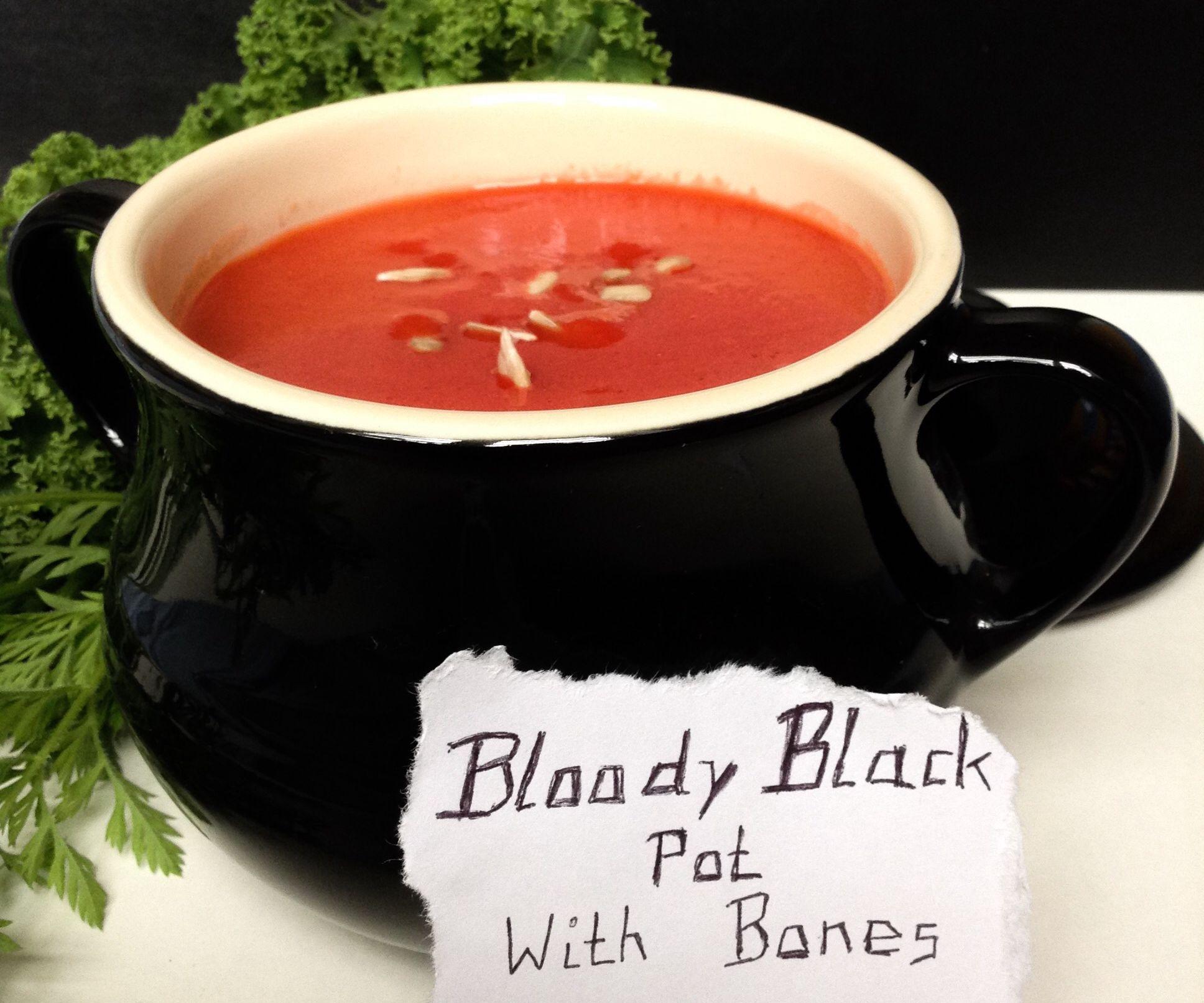 Bloody Black Pot with Bones