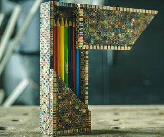 Pencil Box Made From Colored Pencils