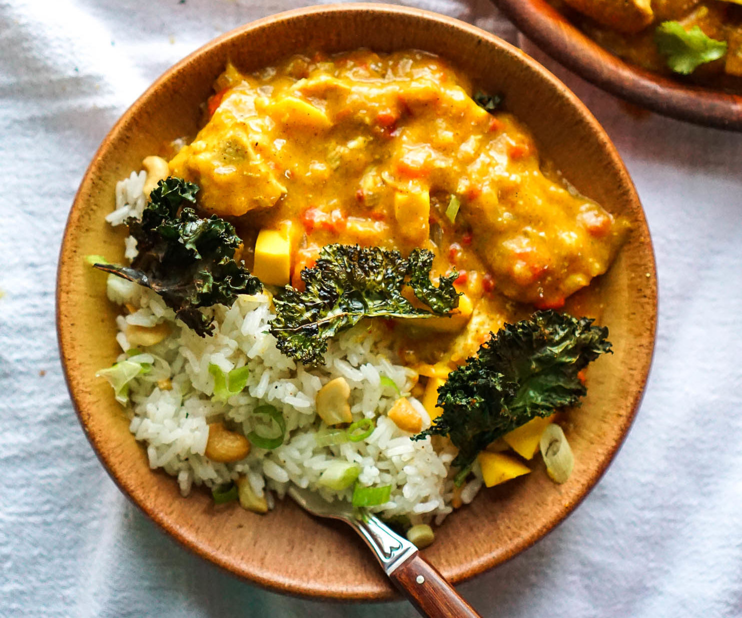 Coconut Curry Mango Chicken With Curry Kale Chips