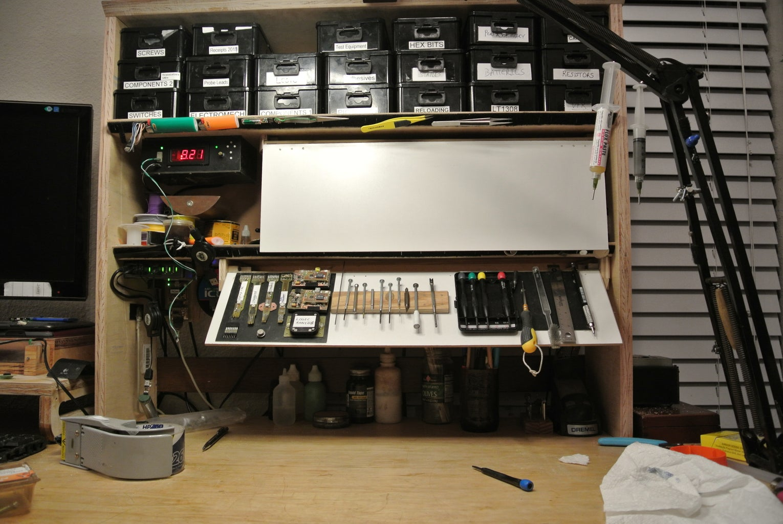 Stow-Away Whiteboard and Magnetic Tool Holder