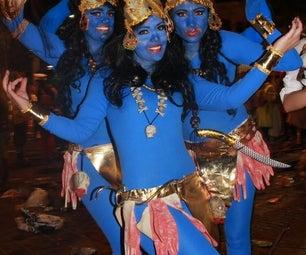 Armed Costume Hallowen Dios Indu India Kali Costume 4 Arms Disfraz Kali 4 Brazos TENERIFE CARNAVAL ORIGINAL DISFRAZ Goddes